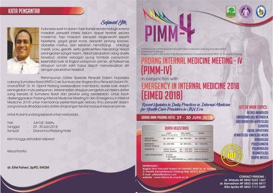 Registrasi Padang Internal Medicine Meeting IV ( PIIM-IV ) Grand Inna Hotel Padang 29 -30 Juni 2018